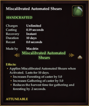 Miscalibrated Automated Shears