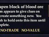 Misshapen block of blood ore