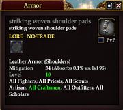 Striking woven shoulder pads