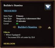 Builder's Stamina