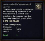 Arcane scientist's ceremonial gloves