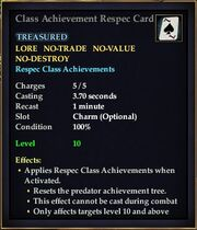 Class Achievement Respec Card