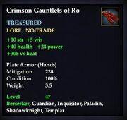 Crimson Gauntlets of Ro