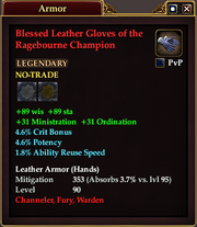 Blessed Leather Gloves of the Ragebourne Champion