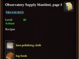Observatory Supply Manifest, page 3