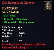 Zek Demolition Greaves