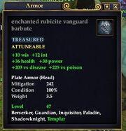 Enchanted rubicite vanguard barbute
