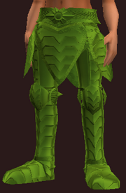 Green Galvanized Paper Plate Greaves (Equipped)