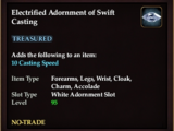 Electrified Adornment of Swift Casting