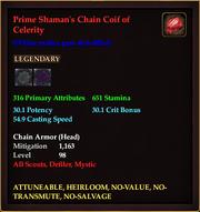 Prime Shaman's Chain Coif of Celerity