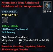 Myrmidon's Iron Reinforced Pauldrons of the Weaponmaster