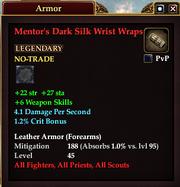 Mentor's Dark Silk Wrist Wraps