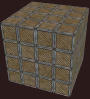Block of corrugated wood