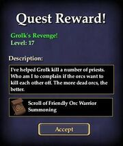 Grolk's Revenge! Reward