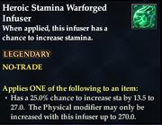 Heroic Stamina Warforged Infuser