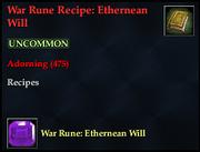 War Rune Recipe- Ethernean Will