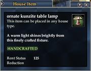 Ornate kunzite table lamp