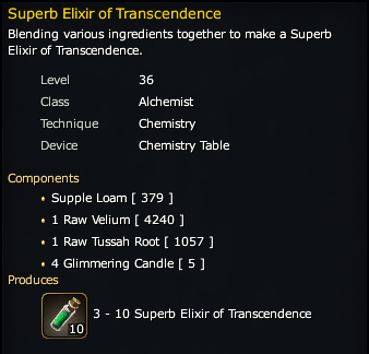 Superb Elixir of Transcendence Recipe