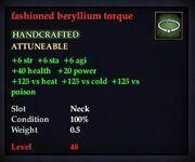 Fashioned beryllium torque
