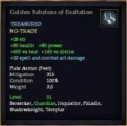 Golden Sabatons of Exaltation