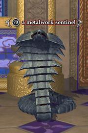 A metalwork sentinel