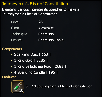 Journeyman's Elixir of Constitution Recipe