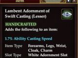 Lambent Adornment of Swift Casting (Lesser)