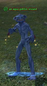 An aqua goblin wizard