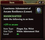 Luminous Adornment of Arcane Resilience (Lesser)