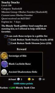 Smacky snacks quest