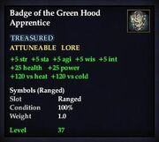 Badge of the Green Hood Apprentice