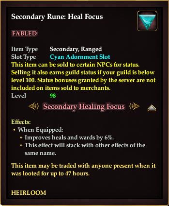 Secondary Rune: Heal Focus < Secondary Rune: Heal Focus
