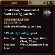 Smoldering Adornment of Swift Casting (Greater)