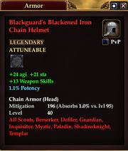Blackguard's Blackened Iron Chain Helmet