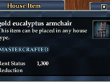 Gold eucalyptus armchair