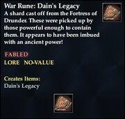 War Rune- Dain's Legacy