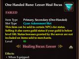 One Handed Rune: Lesser Heal Focus