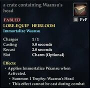 A crate containing Waansu's head