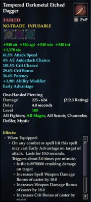 Tempered Darkmetal Etched Dagger