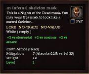 An infernal skeleton mask examine