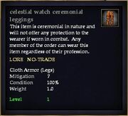 Celestial watch ceremonial leggings