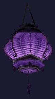 Swaying purple paper lantern (Visible)