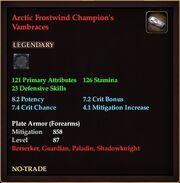Arctic Frostwind Champion's Vambraces