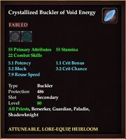 Crystallized Buckler of Void Energy