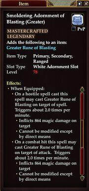 Smoldering Adornment of Blasting (Greater)