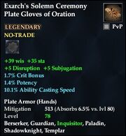 Exarch's Solemn Ceremony Plate Gloves of Oration