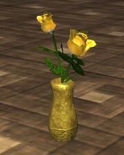 Yellow Roses in an Oval Vase (Visible)