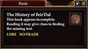 The History of Feir'Dal (Quest Starter)