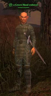 A Green Hood enforcer