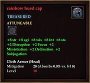 Rainbow hued cap